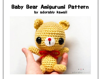 Baby Bear Amigurumi Crochet Pattern, Bear Amigurumi Plush, Cute Animal Nursery Toy, Amigurumi Pattern, Crochet Bear Doll Pattern, DIY Bear
