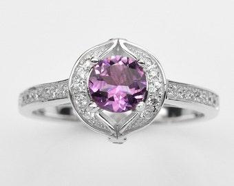 Handmade Natural Gemstone Jewelry, Genuine Purple Amethyst Sterling Silver Ring  FD5A RIS-PAM152