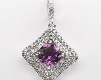 Handmade Natural Gemstone Jewelry, Genuine Purple Amethyst Sterling Silver Pendant  FD5C0191  PD-PAM499
