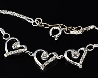 Handmade Fashion Jewelry, White Cubic Zirconia 925 Sterling Silver Bracelet  FD5C0501 BR-CUB488