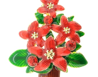 Ruby Poinsettia Christmas Pin Brooch 1005211