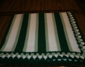 Knit 2 Tone Green & White Baby Blanket / Afghan / Lapghan With Crochet Trim