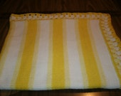 Knit 2 Tone Yellow & White Baby Blanket / Afghan / Lapghan With Crochet Trim