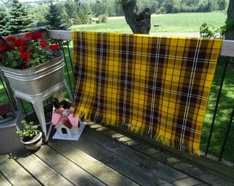 Vintage Fringe Lap Blanket Fall Colors Gold and Brown