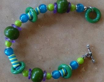 Hula Hoops - Lime, purple, teal bracelet