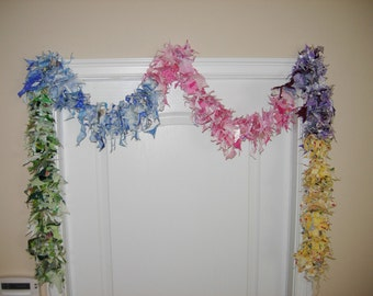 Rainbow Scrappy Garland/ Banner, 9' Long, Easter, Parties, Showers, Baby, Many Uses