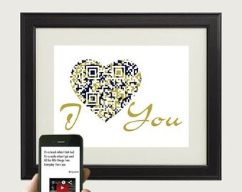 I Love You, Every Day I Love You/ Boyzone or personalized message, music video, first wedding anniversary gift for him, QR song lyric print