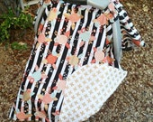Baby Car Seat Cover - Baby Girl Car Seat Canopy - Peach Mint Floral Girls Car Seat Canopy - Baby Shower Gift - Black White Canopy