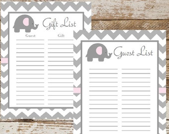 Printable Guest List | Etsy  Baby Shower Guest List Printable
