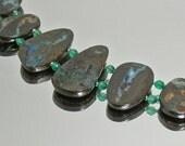 Green Flash Bold Australian Boulder Opal Bracelet with Sterling Silver Slide Clasp