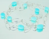 Large Blue Peruvian Opal Nuggets on Sterling Silver Filled Chain Necklace