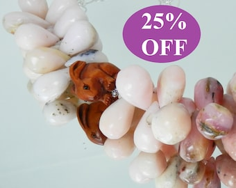 NOW 25% OFF Bold Rabbit Ojime Netsuke and Pink Peruvian Opal Drops Necklace