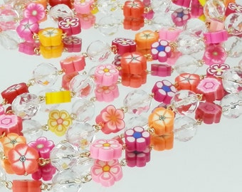 Shades of Pink, Orange, Red and Yellow Flower Bead Chain Style Necklace with Crystal Beads