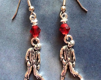 Silver Zombie Earrings with Red Swarovski Crystals