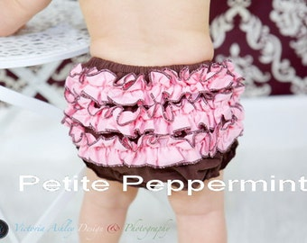 Baby Bloomer Diaper Cover - Brown with pink ruffle bloomer