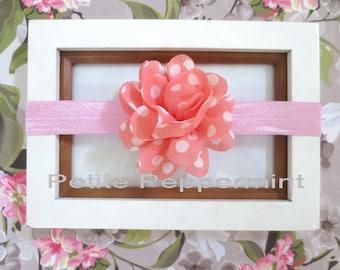 Pink Coral Baby Headband, Baby flower headband,Newborn Headband,Toddler Headband,Polka Dot Flower Headband, Baby Girl Headband,Girl Headband