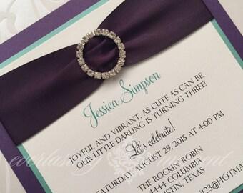 Square rhinestone invitation wedding, anniversary, baptism, bat mitzvah, sweet sixteen, rehearsal dinner, baby shower, bridal shower