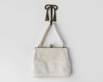 1960's ivory beaded bag. white knit bag. bead purse. 60's cloth bag. handle strap.
