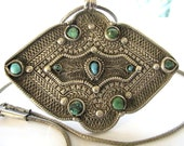 "Antique Tibetan Woman's Belt Buckle for Apron, as Pendant Necklace, High Grade Silver, Turquoise, 26"" Snake Chain, Ethnic Tribal, 68 Grams"