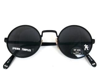 black round metal sunglasses Retro Goth Steampunk John Lennon sunglasses unisex Rock NOS 1990s Hi Tek Junior
