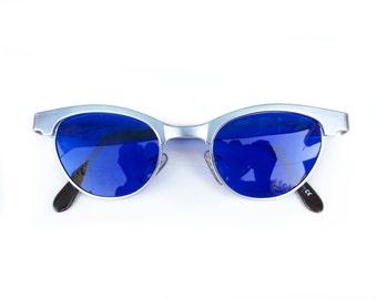Cats eye sunglasses vintage sunglasses Vintage 80's retro 1930s 1950s steampunk silver metal cat eyes sunglasses cobalt blue lens
