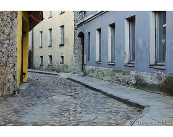 Fine Art Color Photography of a Quiet Back Street in Tallinn Estonia
