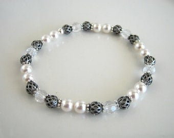 Antique Silver and White Pearl Stretch Bracelet made with Swarovski Crystal Elements Pearls