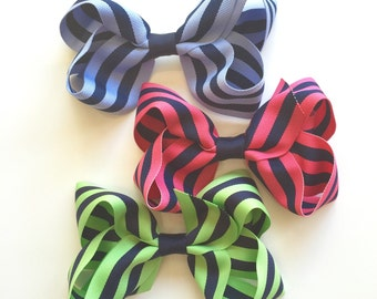Extra Large Grosgrain Preppy Stripe Hair Bows
