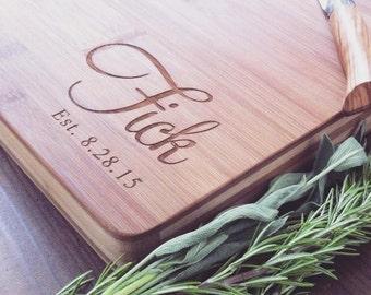 Custom Cutting Board, Personalized Cutting Board, Bamboo Cutting Board, Monogram Cutting Board, Butcher Block, Wedding Gift, Cheese Board