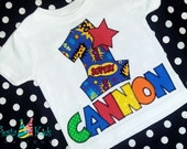 Super hero Birthday shirt, birthday boy, tshirt with name and age applique, comic book shirt