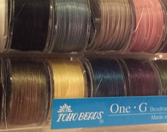 Toho One-G thread box of 12 different colors 50 yards each