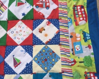 Quilt / Quilts / Baby Bedding / Baby Quilts / Baby Comforter / Quilts for Babies / Gift for Baby Shower // Cars and  Busses - Hand Made