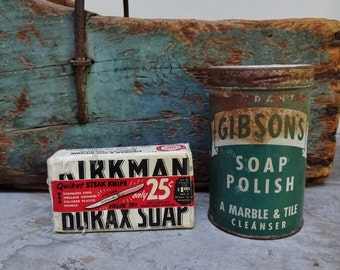Vintage Antique Kirkman Soap Bar And Gibson Marble And Tile Polish