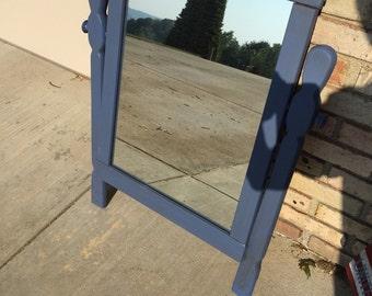 Vintage Blue Dresser Mirror and Frame