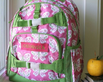 Large Girls Backpack With Monogram (Large Size) -- Pink/Green Butterfly