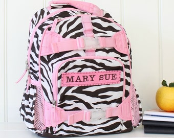 Small Girls Backpack With Monogram  (Small Size) --Chocolate Zebra