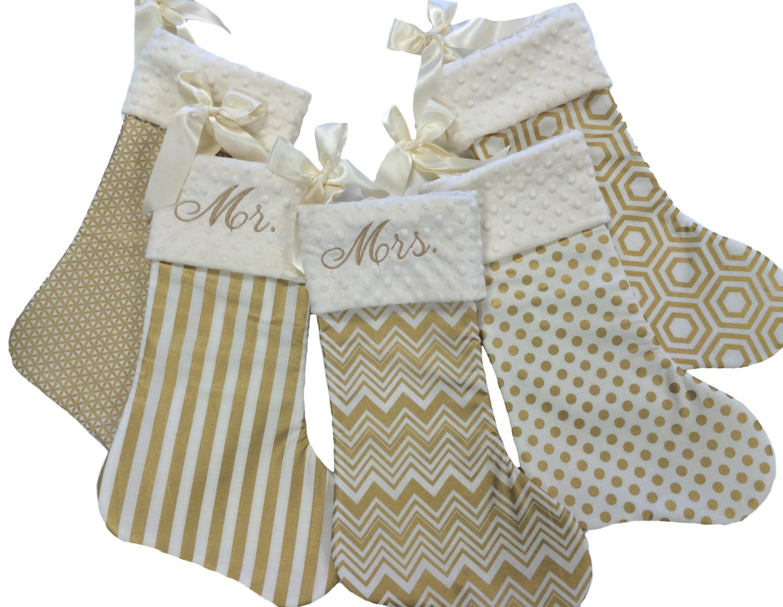 Gold Christmas Stockings Gold Chevron Stripe Polka Dot