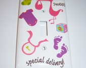 """Baby Girl """"Special Delivery"""" Single Light Switch Cover"""