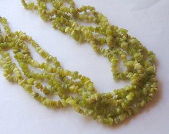 "Olive Jade Chip Beads, Gemstone Beads, Jade Beads, Craft Supplies, Bead Supplies, Jewelry Making Beads, Chip Beads, 32"" Strand, 5-8mm"