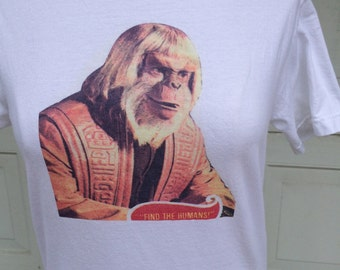 Dr. Zaius Planet of the Apes Movie Tshirt Find The Humans 70s 80s Vintage Tee T Shirt Cotton Men Women XS Small