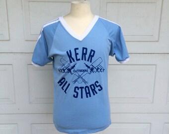 Blue White Baseball Shirt 70s Vintage Kerr Outsiders All Stars T-Shirt Tee Men Women Medium Large 40