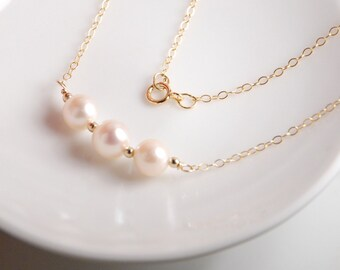 Fresh water pearl necklace,  14K gold filled or 14k solid gold metal, grade AAA high quality lustrous fresh water pearl, weddings, bridal