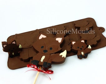 4+1Fox Foxes Woodland Animals Novelty Chocolate Silicone Mould Candy Lolly Cake Topper Silicon Mold - resin / craft / wax / soap