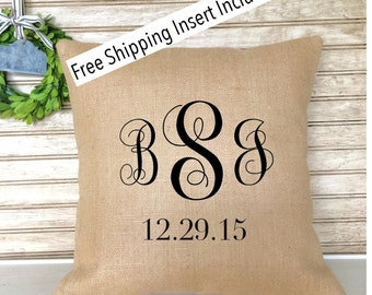 Monogrammed  Wedding  Anniversary Burlap Pillow - with Established Date - Pillow - Insert Included - FREE SHIPPING