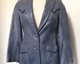 Vintage Blue Leather Western Style Blazer