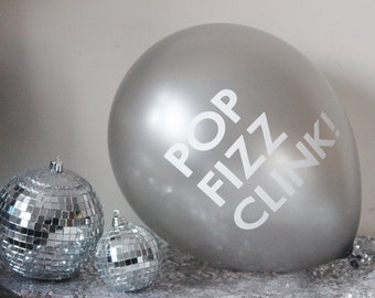 3 POP FIZZ CLINK Balloon Balloons New Years Eve Nye Party New Year 2016  Silver Gold Pink Blue Champagne Wedding   New Years Party Decor