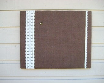 PinBoard, Burlap and Lace Bulletin Board, Photo Memory Board, for your dorm Decor, home office or wedding card display