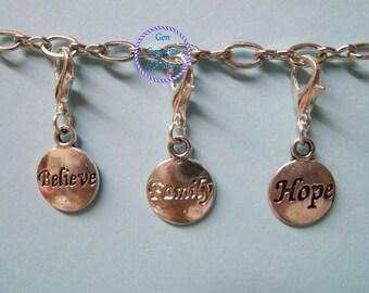 Hope Floating Dangle charm, Family floating dangle charm, Hope floating dangle charm, Floating dangle charm, Charm