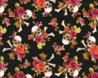 Michael Miller Skulls Out Charm Skull Coral Fabric - 7/8 yard- last piece