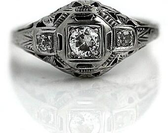 Antique Vintage Diamond Ring in 14 Kt White Gold .35ctw European Cut Diamond